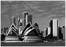 Opera House and high rise buildings. Sydney, New South Wales, Australia (black and white)