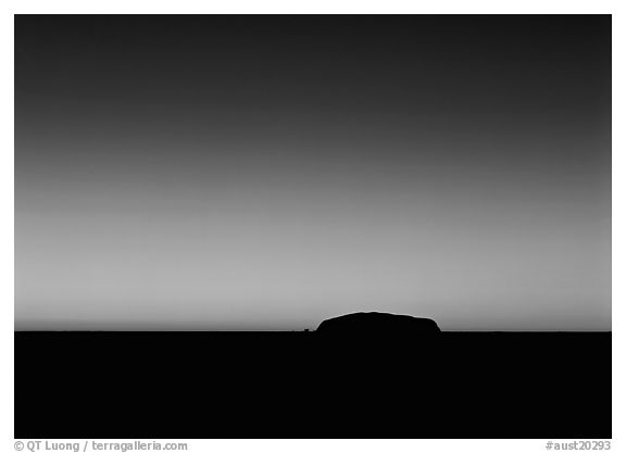 Dawn, Ayers Rock. Uluru-Kata Tjuta National Park, Northern Territories, Australia (black and white)