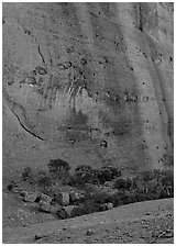 Rock wall, the Olgas. Australia ( black and white)