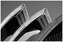 Shell-like roofs of the Opera House. Sydney, New South Wales, Australia (black and white)