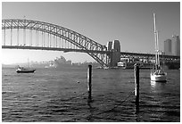 View across Harboor and Harboor bridge, morning. Sydney, New South Wales, Australia ( black and white)