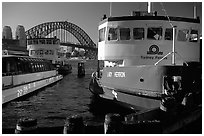 Ferries with Harbor bridge in the background. Sydney, New South Wales, Australia ( black and white)