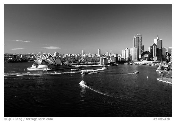 Opera house and Ferry harbour. Sydney, New South Wales, Australia (black and white)