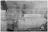 Rock wall striated with desert varnish in Kings Canyon,  Watarrka National Park. Northern Territories, Australia ( black and white)