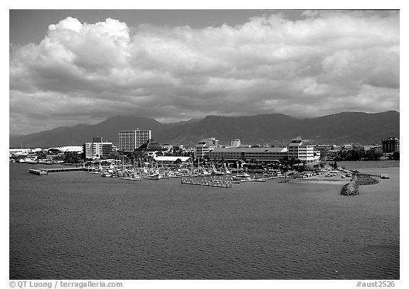 Aerial view of Cairns. Queensland, Australia (black and white)