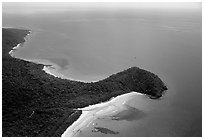 Aerial view of Cape Tribulation. Queensland, Australia (black and white)