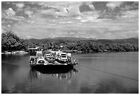 Daintree River ferry crossing. Queensland, Australia ( black and white)
