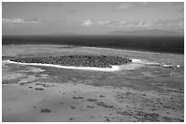 Aerial view of a sand bar  near Cairns. The Great Barrier Reef, Queensland, Australia ( black and white)
