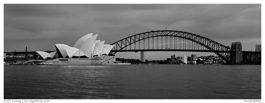 Panoramic black and white picture photo sydney opera house and harbor bridge sydney new south wales australia