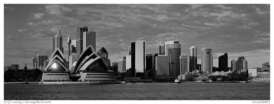 Sydney skyline view with Opera House. Sydney, New South Wales, Australia (black and white)