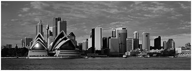 Sydney skyline view with Opera House. Sydney, New South Wales, Australia (Panoramic black and white)