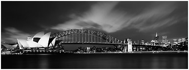 Sydney night view of opera house and Harbor Bridge. Sydney, New South Wales, Australia (Panoramic black and white)