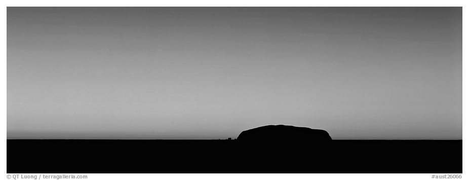 Ayers rock and dawn sky. Uluru-Kata Tjuta National Park, Northern Territories, Australia (black and white)