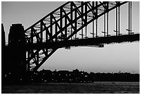 Harbour bridge at sunset. Sydney, New South Wales, Australia (black and white)
