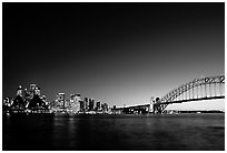 Skyline and Harbour bridge at night. Sydney, New South Wales, Australia (black and white)