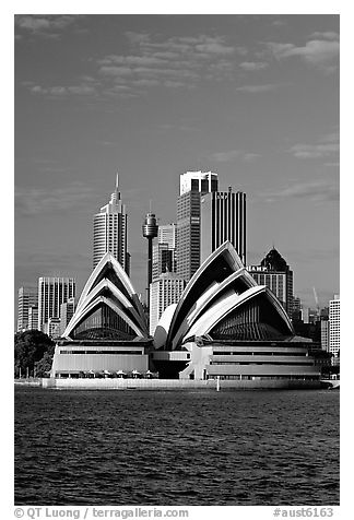 Black and white picture photo opera house and skyline sydney new south wales australia