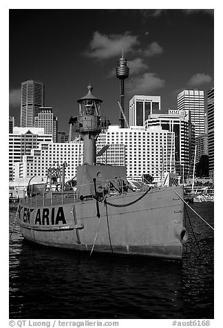 Red boat in harbour. Sydney, New South Wales, Australia (black and white)