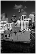 Red boat in harbour. Sydney, New South Wales, Australia ( black and white)