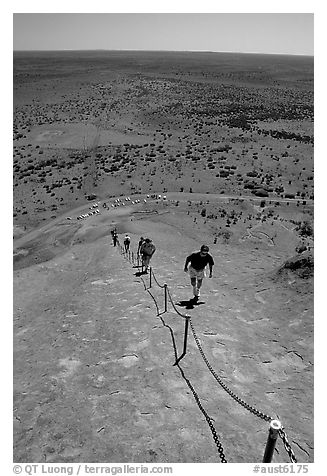 Ascending Ayers Rock. Uluru-Kata Tjuta National Park, Northern Territories, Australia (black and white)