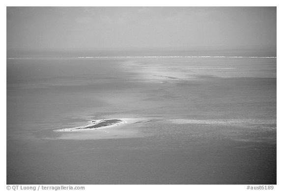 Island. The Great Barrier Reef, Queensland, Australia (black and white)