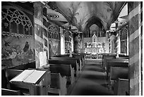 Inside Saint Benedict Catholic Church (Painted Church), South Kona. Big Island, Hawaii, USA ( black and white)