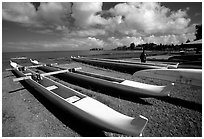 Traditional outtrigger canoes in Hilo. Big Island, Hawaii, USA ( black and white)