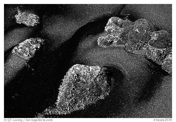 Black sand and mossy rocks, Punaluu Beach. Big Island, Hawaii, USA (black and white)