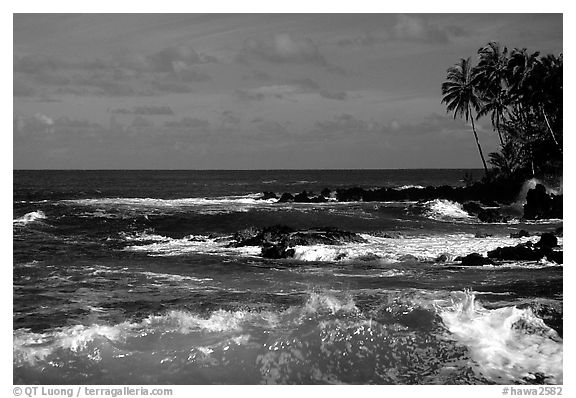 Black and white picture photo ocean view keanae peninsula maui hawaii usa