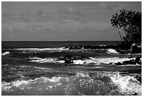 Ocean view, Keanae Peninsula. Maui, Hawaii, USA (black and white)