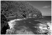 Red sand beach in Hana. Maui, Hawaii, USA (black and white)