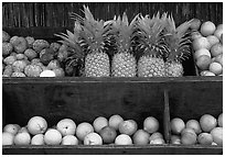 Tropical Fruits, roadside stand. Maui, Hawaii, USA ( black and white)