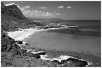 Makapuu Beach and turquoise waters, mid-day. Oahu island, Hawaii, USA (black and white)