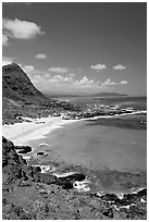 Makapuu Beach and bay. Oahu island, Hawaii, USA (black and white)