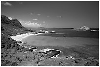 Makapuu Beach and Rabbit Island. Oahu island, Hawaii, USA (black and white)
