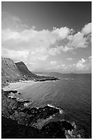 Coastline and Makapuu Beach, early morning. Oahu island, Hawaii, USA (black and white)