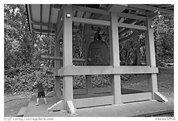 Boy ringing the buddhist bell, Byodo-In temple. Oahu island, Hawaii, USA (black and white)