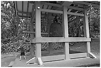 Boy ringing the buddhist bell, Byodo-In temple. Oahu island, Hawaii, USA ( black and white)