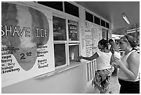 Women ordering shave ice, Waimanalo. Oahu island, Hawaii, USA (black and white)