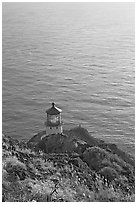 Makapuu head ligthouse, early morning. Oahu island, Hawaii, USA (black and white)