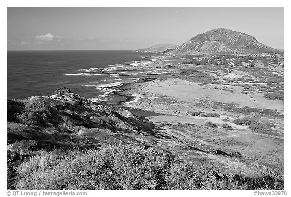 Sandy Beach and Koko crater, morning. Oahu island, Hawaii, USA (black and white)
