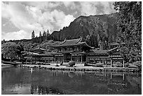 Byodo-In temple and Koolau Mountains, morning. Oahu island, Hawaii, USA (black and white)