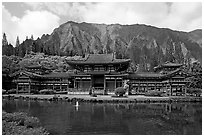 Byodo-In temple and fluted mountains, morning. Oahu island, Hawaii, USA (black and white)