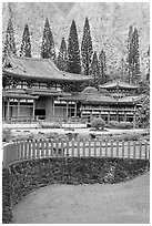 Byodo-In Temple. Oahu island, Hawaii, USA ( black and white)