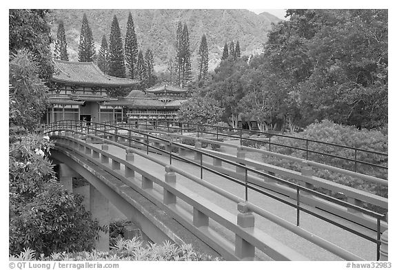 Red bridge leading to Byodo-In Temple. Oahu island, Hawaii, USA (black and white)