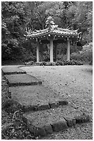 Fishing Hut Pavilion, Byodo-In temple. Oahu island, Hawaii, USA (black and white)