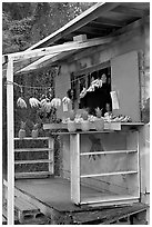 Decorated fruit stand. Oahu island, Hawaii, USA ( black and white)