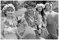 People in Tahitian dress. Polynesian Cultural Center, Oahu island, Hawaii, USA (black and white)