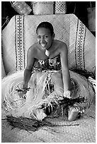 Fiji woman. Polynesian Cultural Center, Oahu island, Hawaii, USA ( black and white)