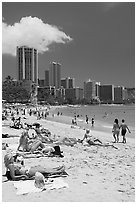Waikiki Beach and skyline, mid-day. Waikiki, Honolulu, Oahu island, Hawaii, USA (black and white)