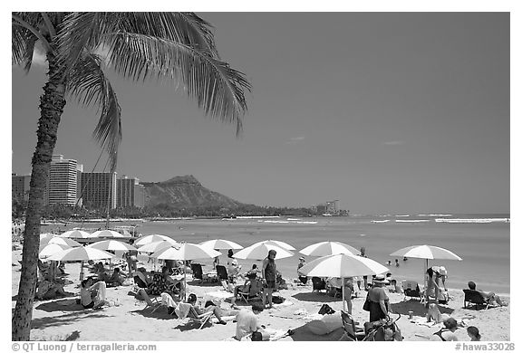 Sun shades on Waikiki Beach. Waikiki, Honolulu, Oahu island, Hawaii, USA